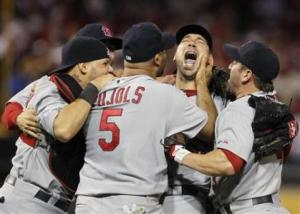 Cardinals' Carpenter celebrates winning their MLB baseball playoff game against the Phillies in Philadelphia