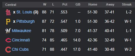 Standings 9-25